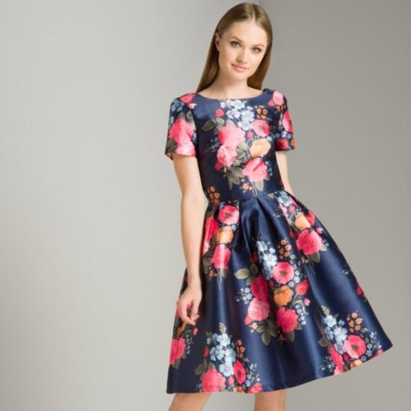 d61b14333c718 NWT Chi Chi London Navy Floral Dress